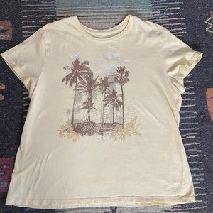 Sonoma yellow T with graphic tropical design 2X